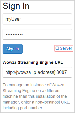 then in wowza streaming engine url enter the remote streaming engine url in the form http wowza ip address 8087 where wowza ip address is the remote