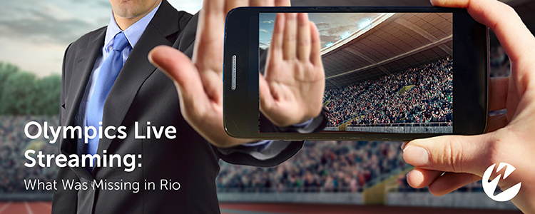 Olympics official holding up hand to ban live mobile streaming