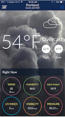 GoCoder SDK app WeatherScope Portland weather