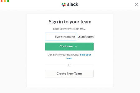 Slack Login Screen