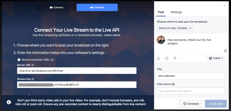 Facebook Live/Create Portal connect your live stream