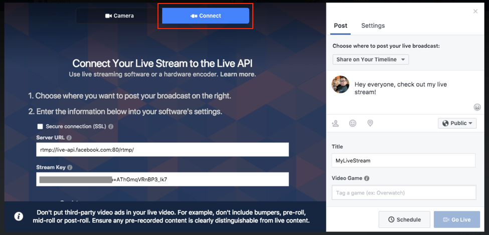 Facebook Live Connect your live stream to the Live API
