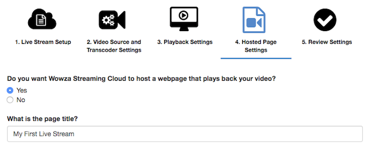 Wowza Streaming Cloud hosted page settings