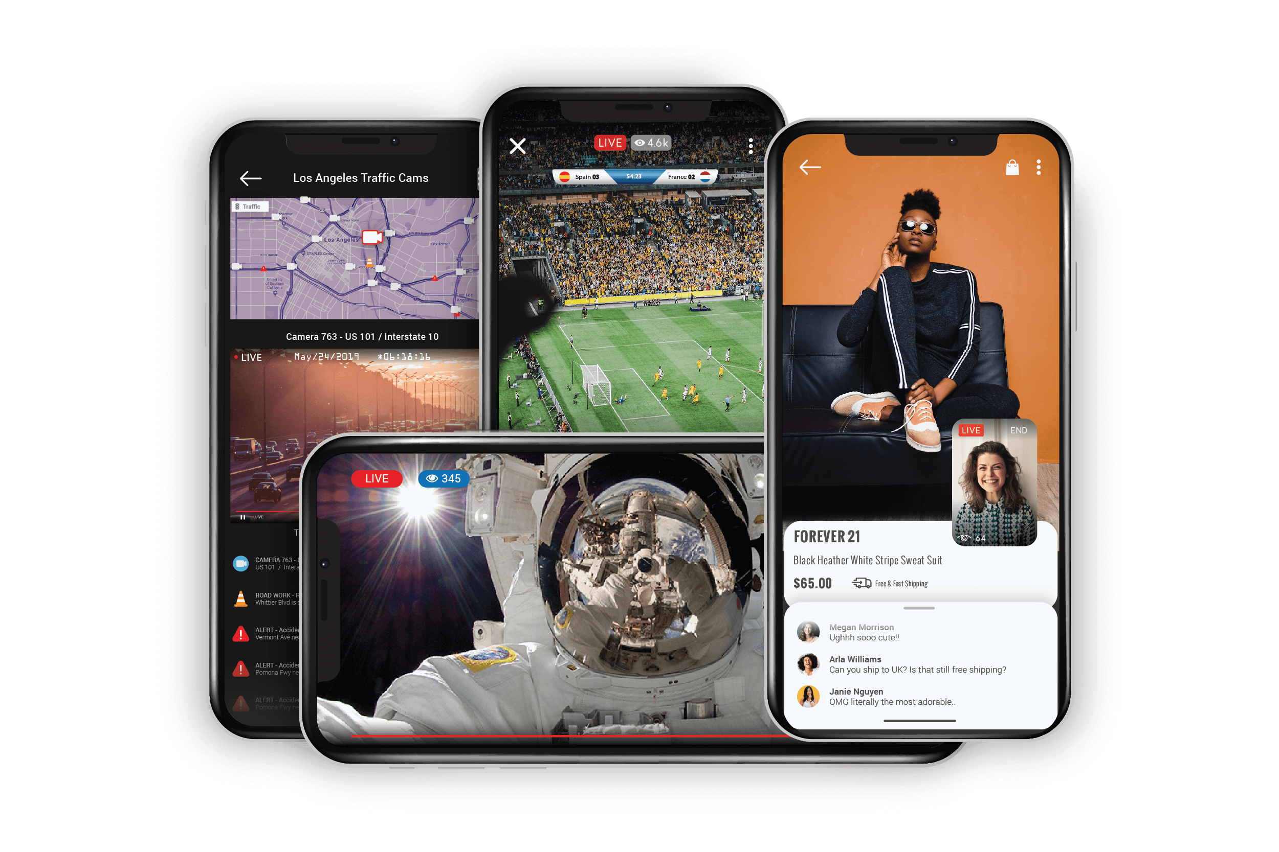 Live video mobile apps - traffic app, sports app, live streaming app, live commerce app