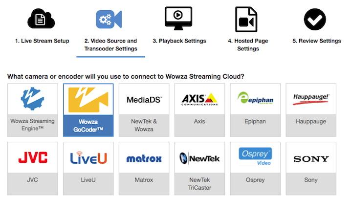 Wowza Streaming Cloud camera and encoder options