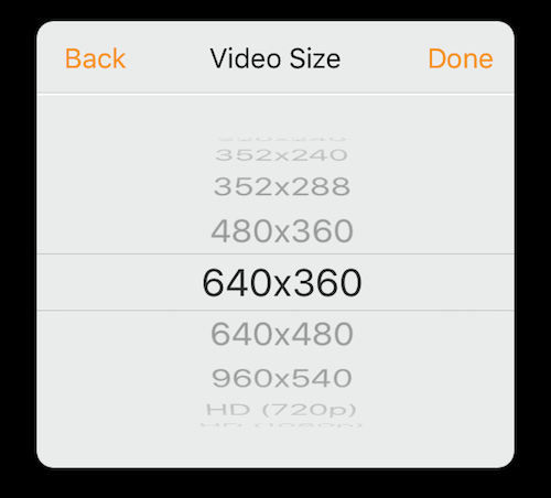 Wowza GoCoder video size