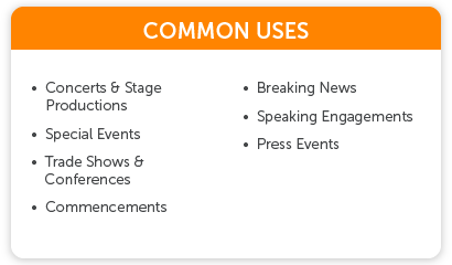Live Events Common Uses of Wowza such as concerts, commencements, & press events