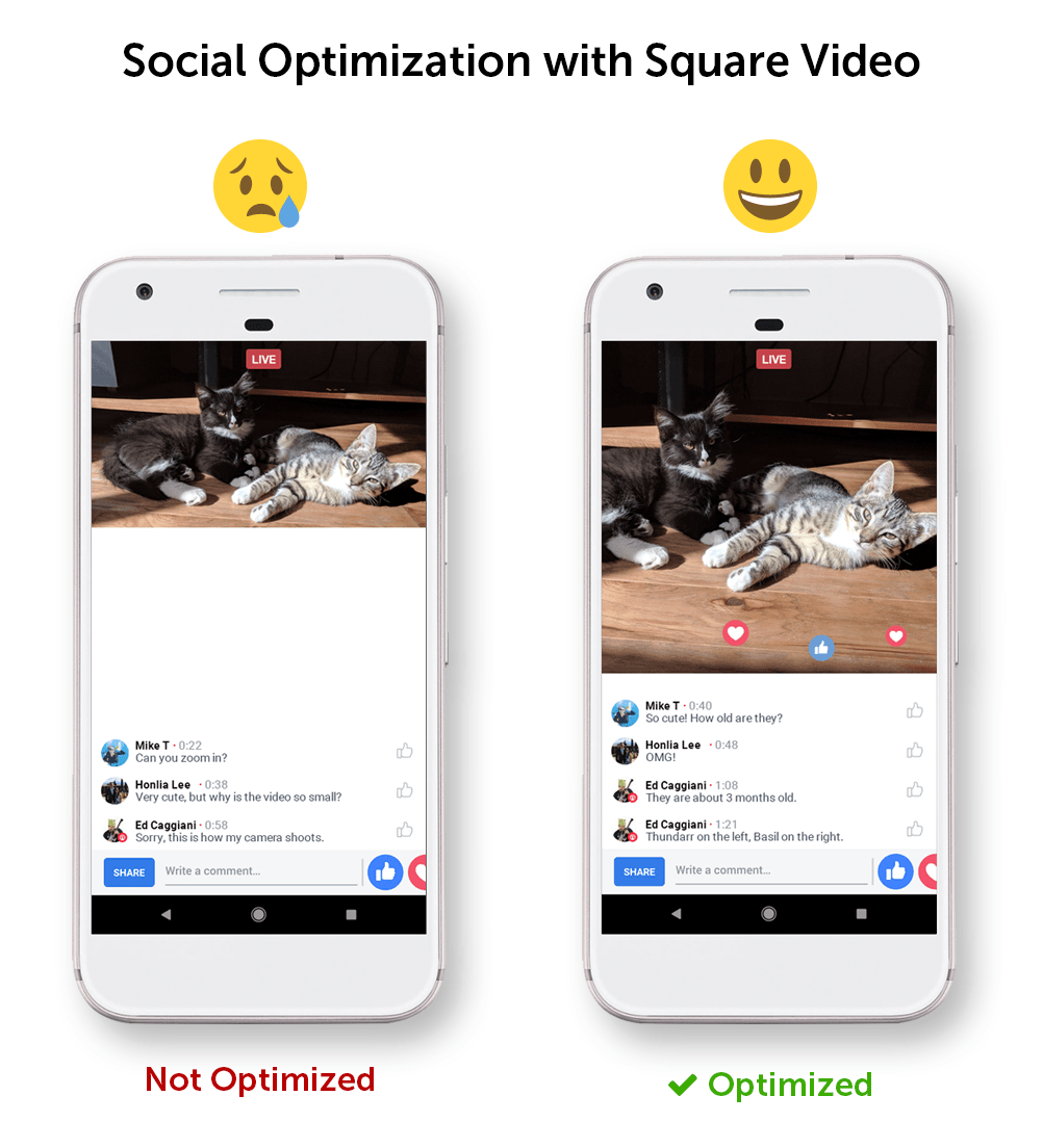 Social optimization with square video on Facebook Live Wowza ClearCaster
