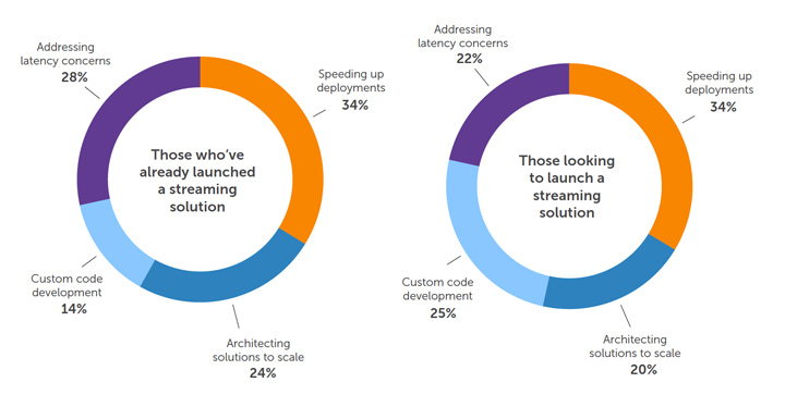 Graph: Reasons for Outsourcing Professional Services for Those Who've Already Launched a Streaming Solution vs. Those Looking to Launch