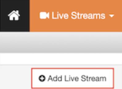 Screenshot of the Add Live Stream button in Wowza Streaming Cloud.
