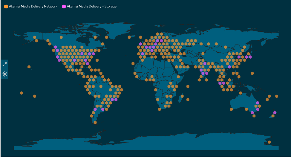 Akamai's Media Delivery Network Map with delivery and storage resources available marked on a global map.