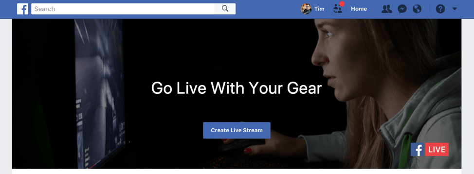 Facebook Live Home Page