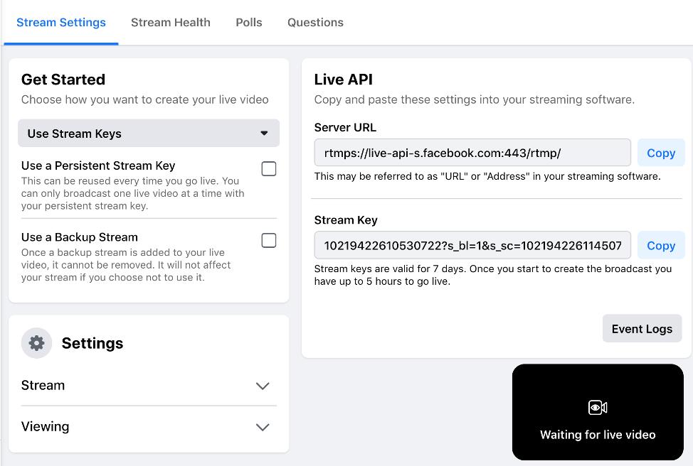 Facebook Live Stream Settings