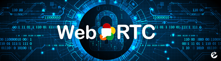 WebRTC security graphic with binary code