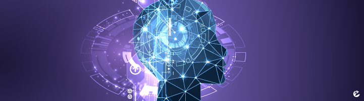 A profile view of a human with network-like graphics and analytics.