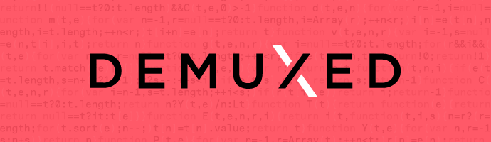 Pink background with code and the Demuxed logo.