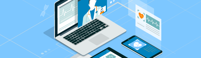 A laptop, tablet, and smart phone all depicting different telehealth use cases including virtual doctor appointments and remote patient monitoring.