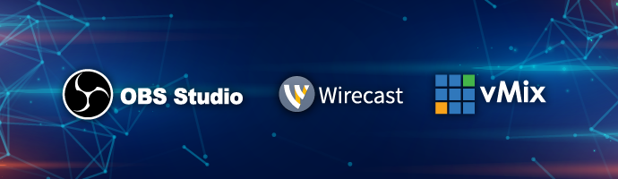 The OBS logo, Wirecast logo, and vMix logo.