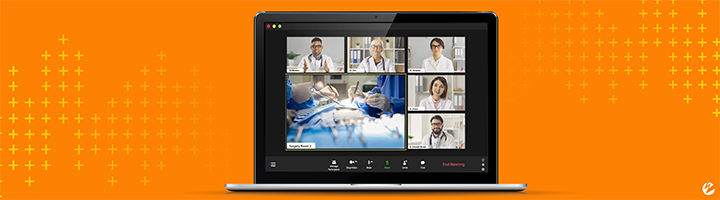 A watch party feature overlaying a live broadcast of a surgery so that medical students can ask real-time questions and replicate an in-person experience without increasing contamination in the OR.