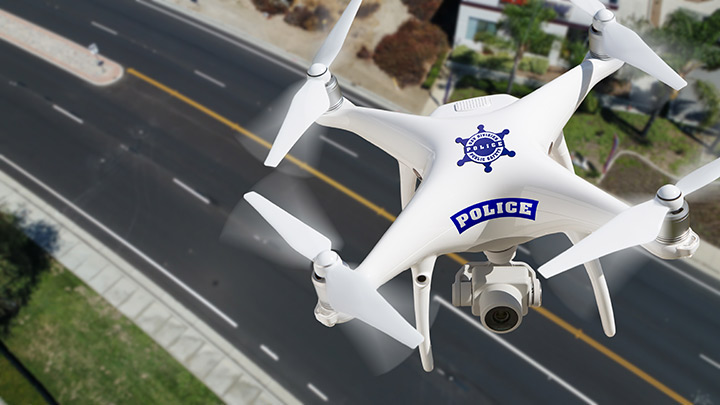 Police drone used for public safety surveillance.