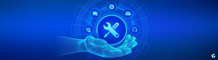 A digital hand holding a icon with a tool set surrounded by support-themed icons such as a chat message, phone call, etc.