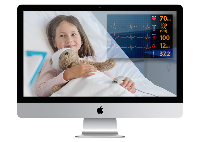 Live stream of hospitalized girl with analytics overlaid indicating heart rate, blood pressure, temperature, etc.