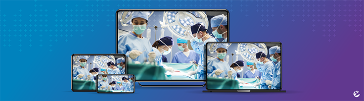 Live video stream from an operating room (OR) showing five doctors conducting surgery, displayed across several different devices (mobile, tablet, desktop, laptop).