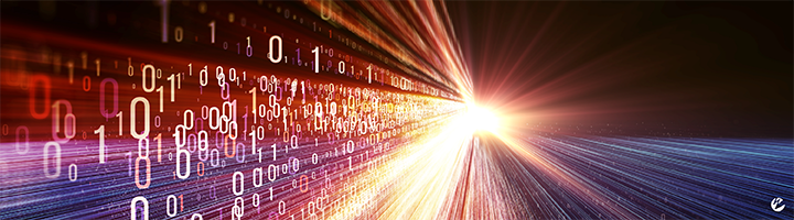 Image of data being transported across cyberspace as depicted by binary numbers and a tunnel of light.