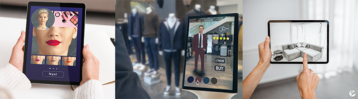 Three examples of shoppable video, including a live makeup tutorial via video chat, an in-store AR application for trying on clothing, and the use of AR technology to project furniture into a space in your house.