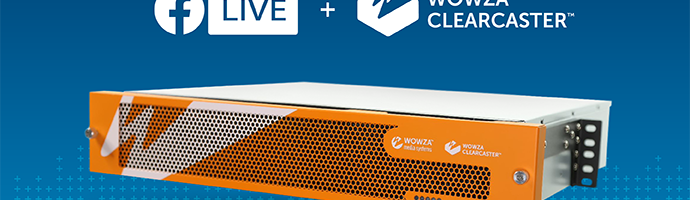 A Facebook Live logo, ClearCaster logo, and a picture of a ClearCaster encoding appliance