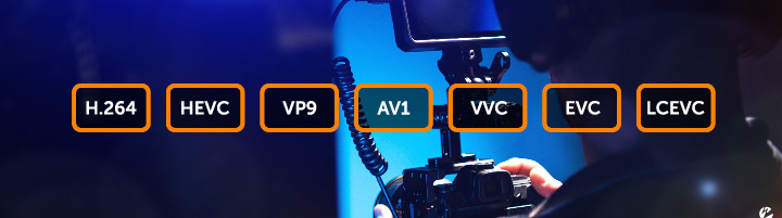 Live video production with popular codec names, including H.264, HEVC, VP9, AV1, VVC, EVC