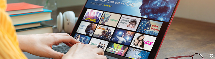Person on laptop with library of VOD movies available through a streaming service like Netflix.