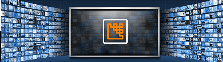 A large-screen monitor with an icon representing the process of video encoding applying a codec algorithm to compress content.