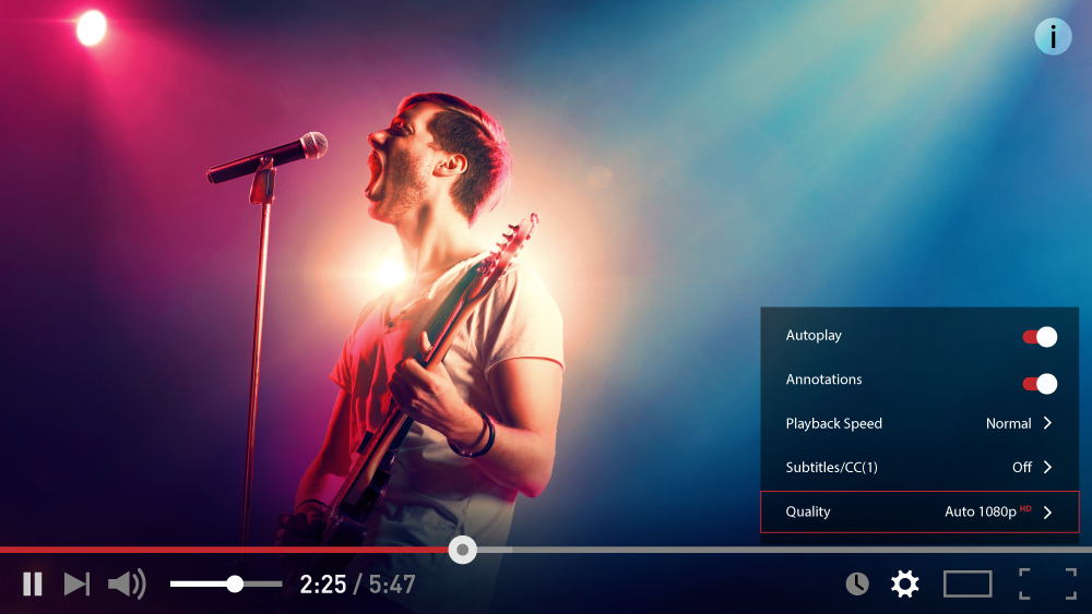 Video stream of a musician performing while the video player provides options for selecting quality/resolution, subtitles, playback speed, etc.