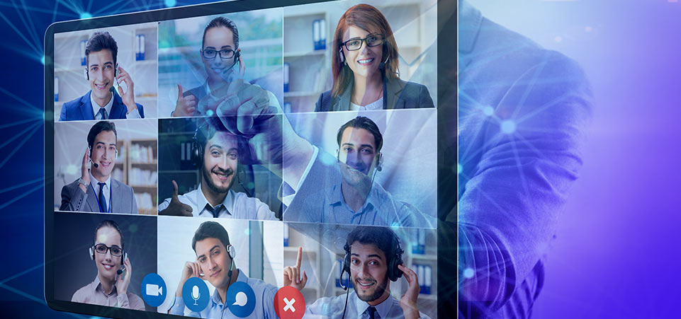 A remote business meeting with nine individuals participating in a live video stream.