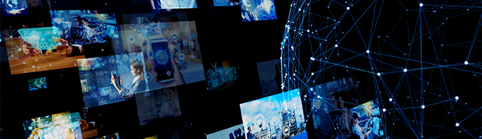 A global network of connected edge servers with video content being distributed across it.