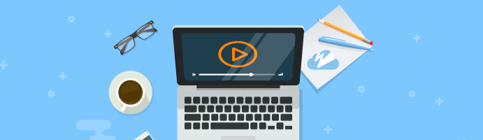 Image of a laptop, glasses, coffee mug, cell phone, and notepad with the Wowza Streaming Cloud logo, as well as title, 'Wowza Support Webinars.'