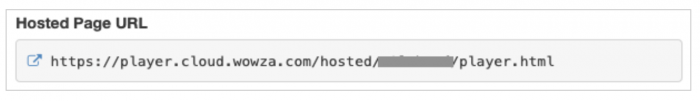 Screenshot showing how to locate the Hosted Page URL for HLS delivery.
