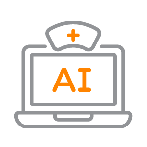 An icon depicting a computer with AI written on the screen.