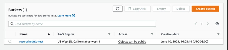 Screenshot of AWS console S3 bucket list.