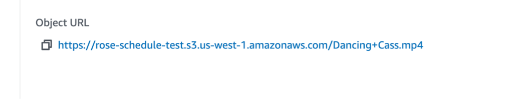 Screenshot showing Object URL
