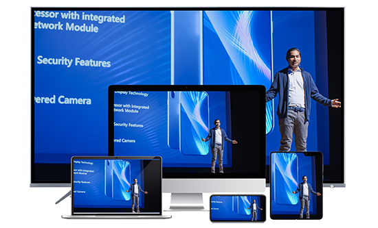Speaker presenting at a conference and the live video stream being rendered on different screens via adaptive bitrate streaming.