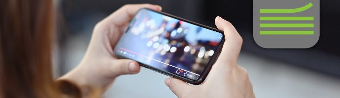 Live video stream on a smartphone screen and Softvelum logo