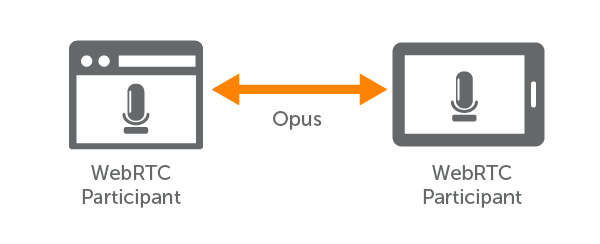 Opus Audio Exchange Between Peer WebRTC Participants