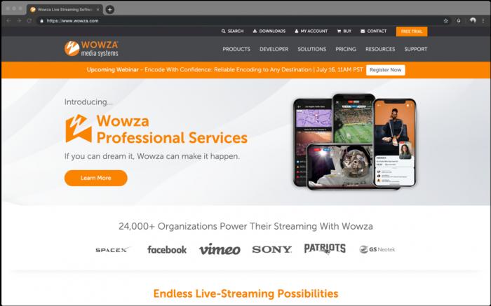 Screenshot: Wowza Homepage
