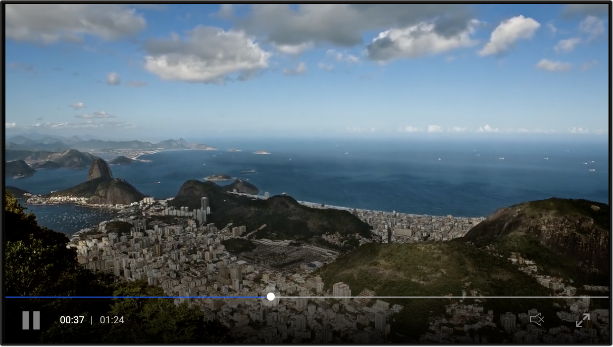 Clappr HTML5 video player with landscape scene.