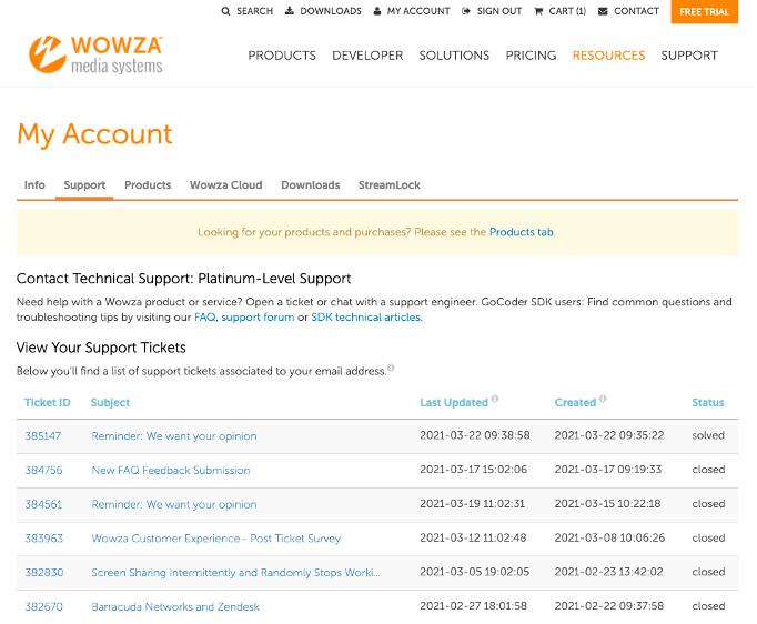 Screenshot of the Wowza Customer Portal with support tickets categorized by status, subject, and ticket ID.