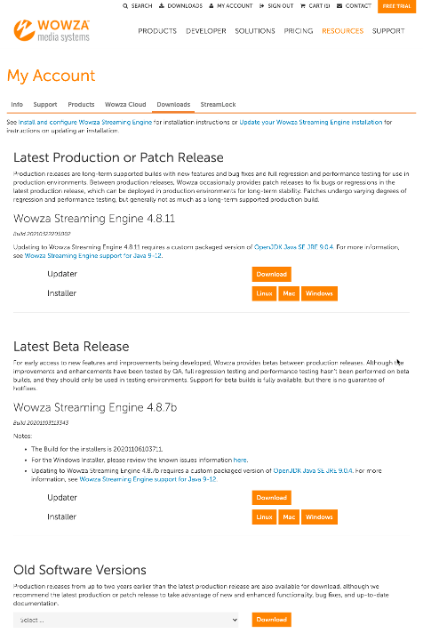 Screenshot of the Customer Portal Downloads tab where the latest production and patch releases are listed with options to install or update.