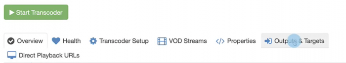 'Outputs and Targets' button in Wowza Streaming Cloud.