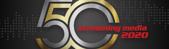 2020 Streaming Media 50 Logo and Black Background